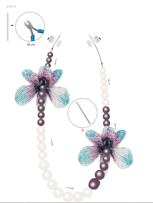 DIY Free Design and Instructions Swarovski Crystal Necklace Velvet Orchid step 3