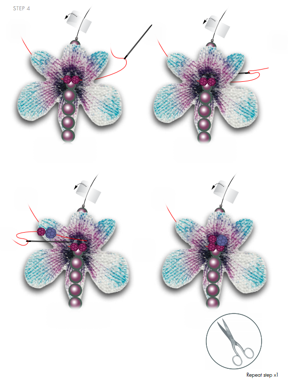 DIY Free Design and Instructions Swarovski Crystal Necklace Velvet Orchid step 4.PNG
