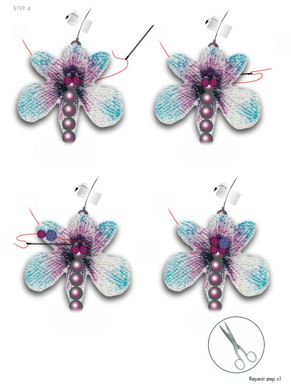 DIY Free Design and Instructions Swarovski Crystal Necklace Velvet Orchid step 4.PNG