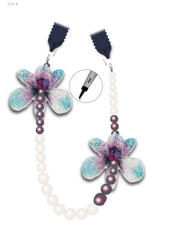 DIY Free Design and Instructions Swarovski Crystal Necklace Velvet Orchid step 8.PNG