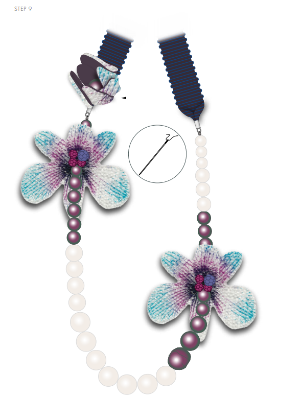 DIY Free Design and Instructions Swarovski Crystal Necklace Velvet Orchid step 9.PNG