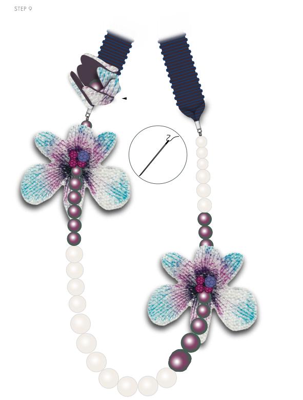 DIY Free Design and Instructions Swarovski Crystal Necklace Velvet Orchid step 9.PNG