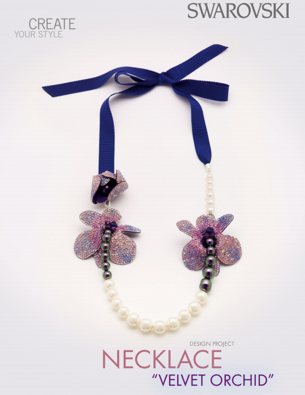 DIY Free Design and Instructions Swarovski Crystal Necklace Velvet Orchid
