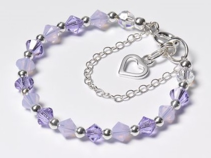Swarovski Crystal Beaded bracelet in violet and violet opal