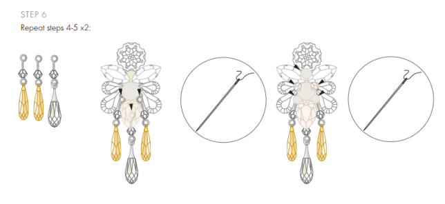 DIY Swarovski Crystal Wedding Earring Design free design and instructions from Rainbows of Light step 6