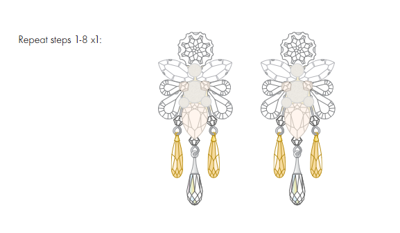 DIY Swarovski Crystal Wedding Earring Design free design and instructions from Rainbows of Light step 9