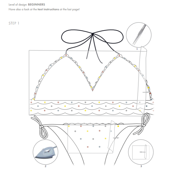 Free Swarovski Crystal Instructions on how to add crystals to a bikini bathing suit step 1