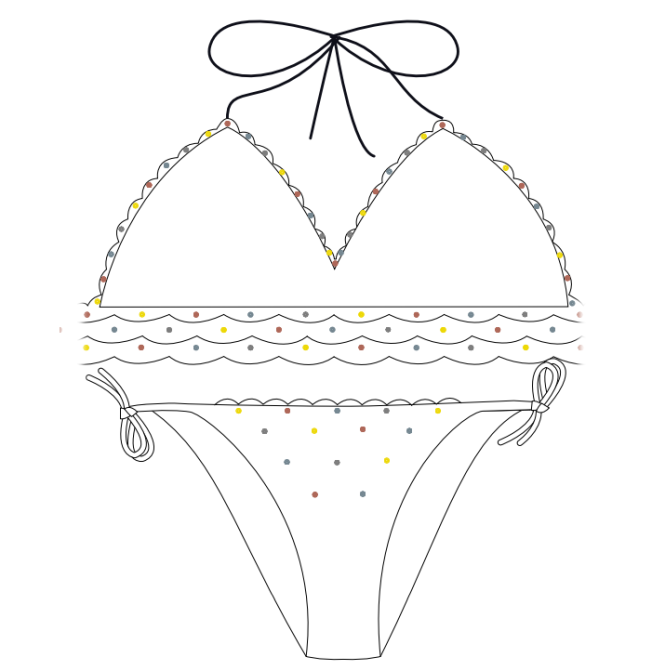 Free Swarovski Crystal Instructions on how to add crystals to a bikini bathing suit step 2