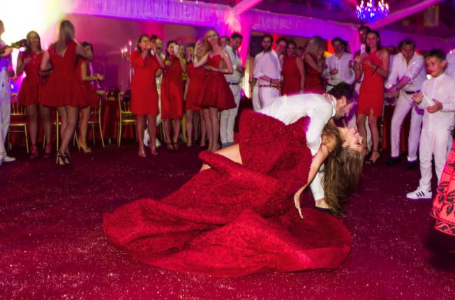Swarovski_Heiress_wedding_pictures_red_dress_sparkles
