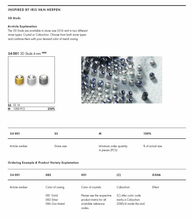 FW2017 3D Studs New Swarovski Elements