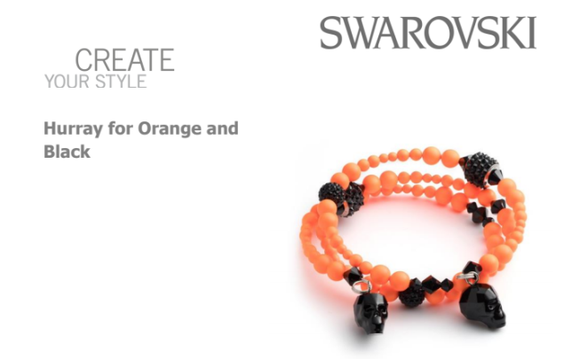 Free Swarovski Crystal Pattern Hurray for Orange and Black Bracelet