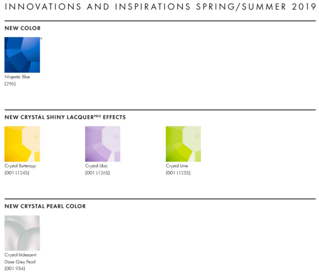 New Swarovski Crystal Spring Summer 2019 Innovations Color Information
