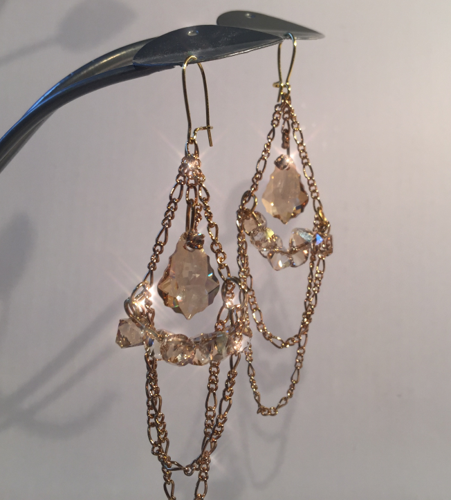 Swarovski Crystal and chain dangle earrings free DIY design and instructions jewelry making