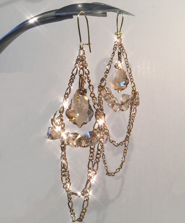 Swarovski Crystal and chain dangle earrings free DIY design and instructions